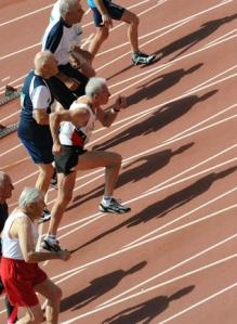 Elderly people running in Masters Games