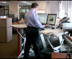 Treadmill desk for health